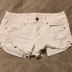 American Eagle White Denim Shortie Shorts